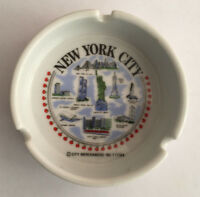 New York City Vintage White Porcelain Ashtray Empire State Building Twin Towers