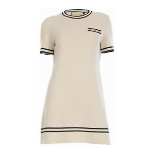 GUCCI 1400$ Dress With Contrast Trim In Off White Wool With Horsebit Chain