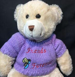 Animal Alley Teddy Bear Friends Forever Purple Knit Sweater Plush Stuffed Toy