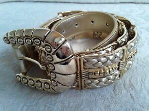 "Captiva Collectibles Sz M Vtg Blingy Heavy Gold Metal & Leather Belt 32"" 1.5"" W"