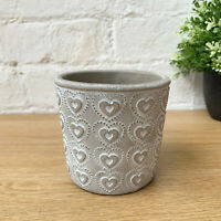 Vintage Cement Mini Love Heart Garden Flower Seed Herb Plant Pot Holder Planter