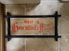 """Antique Punch Paper Motto """"What is Home Without a Father"""" in Adirondack Frame"""