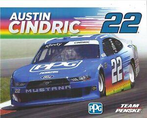 2021 AUSTIN CINDRIC 22 NASCAR XFINITY SERIES PPG/PENNZOIL PENSKE RACING POSTCARD