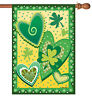 Toland Heart O' The Irish 28 x 40 St Patrick's Day Shamrock Clover House Flag