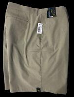 ROUNDTREE & YORKE PERFORMANCE Khaki Heather Beige Flat Front Shorts SZ 46 Big