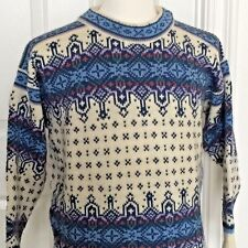 Vintage Dale of Norway Fair Isle Nordic Sweater Mens Small S Blue Ski Pullover