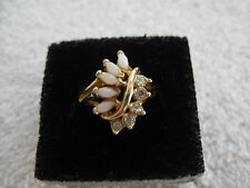 Faux Opal Rhinestone Cluster Ring Sz 6.5 - 7 Ladies Yellow Gold Plated
