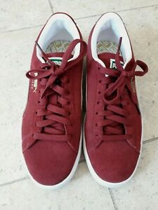 PUMA BURGUNDY RED SUEDE TRAINERS 6.5 40 USED ONCE