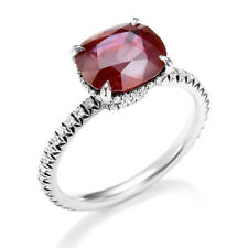 2.40 Cts Natural Diamonds Ruby Cocktail Ring In Fine Hallmark 18Karat White Gold