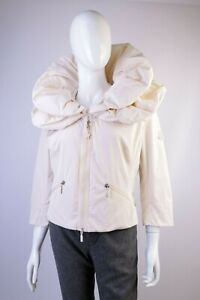 Women's Moncler Gamme Rouge Double Collar Ivory 3/4 Sleeve Jacket Size 3