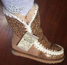 New Ugg Igloo Leo Shimmer Gold Size 7 Or 38 Australia Leather Sheepskin Boots