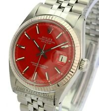 Rolex Datejust Mens 1601 Stainless Steel Red Dial Fluted Bezel  36mm Watch