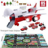 Car Toys Set with Transport Cargo Airplane Large Play Mat Mini Vehicle Xmas Gift