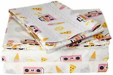 Laura Hart queen sheet set NEW! PIZZA ICE CREAM PINK BOOMBOX