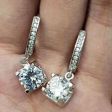 Earring Solid 14k White Gold Finish 2.30Ct Brilliant Cut D/Vvs1 Diamond Dangle