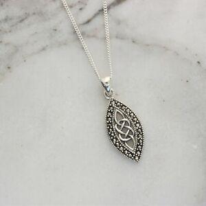 Sterling Silver Marcasite Celtic Knot Oval Necklace 43+3cm Vintage Inspired