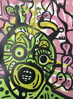Hasworld original Abstract Expressionist Signed,COA, Street Art,colourful,Kunst