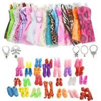 30 Pcs Dolls Set Pieces Barbie Doll Dresses Shoes & Hangers Clothes Shoes Set UK
