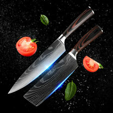 Japanese Damascus Stainless Steel Cleaver & Chef Knife Set Best Kitchen Knives
