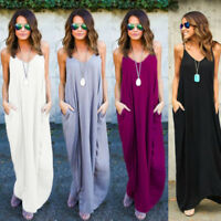S-5X Women Strap Maxi Dress Long Casual Sleeveless Cami Loose Pocket Boho Summer