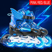 BOYS GIRLS ROLLER BLADE SKATES INLINE ROLLER SKATES KIDS ADJUSTABLE 4