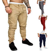 Cargo Straight Trousers Fit Slim Men's Pants Jogger Urban Casual Pencil New Leg