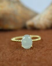 Natural Aqua Chalcedony Ring Gold Plated Ring 925 Sterling Silver Handmade Ring