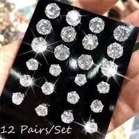 Fashion Rhinestone Crystal Zircon Earrings Set Women Ear Stud Jewelry 12 Pairs