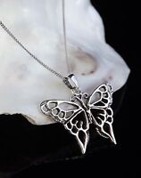 """925 Sterling Silver Butterfly Pendant 18"""" Necklace Jewellery Gift Box UK"""