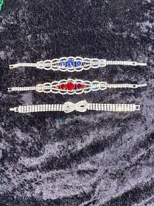 Ladies Rhinstone Bracelets With Clasp - Blue, Red, Knot Accents - Set Of 3