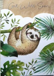 """Traditional Glittered Hanging Lazy Sloth """"GET WELL SOON"""" Card"""