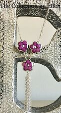 Necklace- Silver Chain Link Bib with Purple Flowers Tassel Rhinestone Accent