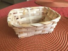 """Pair Of 2 Small Natural Bamboo Basket Wide Weave Size 5.5"""""""