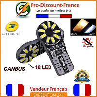 2 Ampoules LED T10 W5W 18 LED Blanc Canbus Anti Erreur Ampoule Veilleuse Voiture