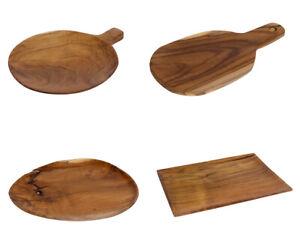 Frühstücksbrettchen Teakholz Schneidebrettchen Servierteller Holz Brotzeitbrett