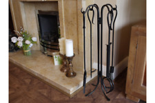 4 Piece Fire Place Tool Set With Stand Black Heavy Steel Coal Fireside Companion