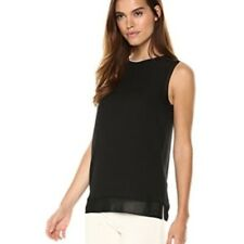 Theory Women's Size M Black Sleeveless Lewie Silk Top