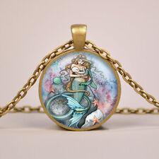 Mermaid Breast Feeding Baby Art Print Pendant Necklace or Keyring Glass Jewelry