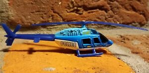 """POLICE Bell Jetranger 2001 Matchbox Skybusters Rescue Helicopter diecast 4"""" blue"""