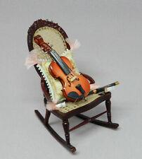 Vintage Caned Rocking Chair w Violin & Pillow Artisan Dollhouse Miniature 1:12