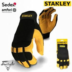 Stanley Rugged Performance Leather Hybrid Gloves Tough Abrasion Resistant Palm