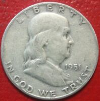 1951-S Franklin Half Dollar , Circulated , 90% Silver US Coin