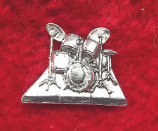 Musical Drum Kit Hand-Crafted English Pewter Badge + free UK postage