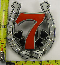 LUCKY NUMBER 7 METAL BELT BUCKLE POKER DICE SEVEN HORSESHOE HORSE SHOE NEW B359
