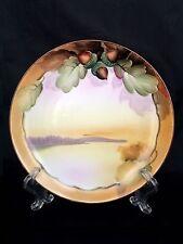 Vintage Nippon Porcelain Hand Painted Green Brown Acorn Cabinet Display Plate