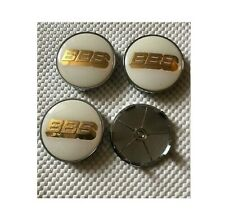 Set of 4 68mm White with Gold Logo BBS Alloy Wheel Centre Hub Caps Set Badge