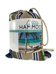 "Blue Star Tree Anchored Lounge Hammock Indoor Outdoor Blue Green Stripe 32""X78"""