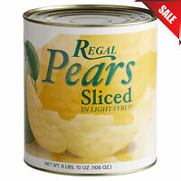 (6 Pack) Bulk Wholesale #10 Cans Sliced Pears in Light Syrup Canned Fruit Pantry
