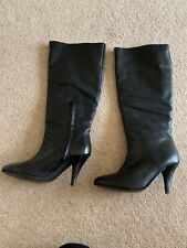 Ladies Size 3 Black Leather High Heel Boots From Ethelaustin