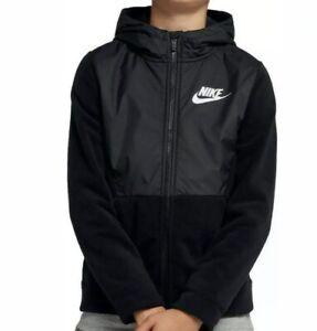 NWT Nike Boys' Sportswear Polar Fleece Full-Zip Hoodie Black Size S
